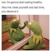 Kermit the frog meme looking at the mirror and giving himself words of encouragement