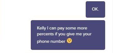 Text - ОК. Kelly I can pay some more percents if you give me your phone number OK
