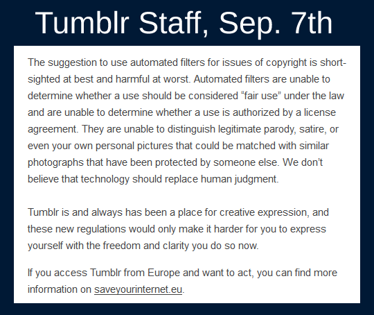 announcement of Tumblr's ban on adult content