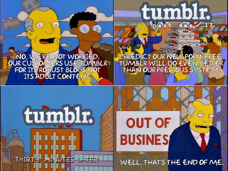 Simpsons scene depicting Tumblr going out of business after banning adult content