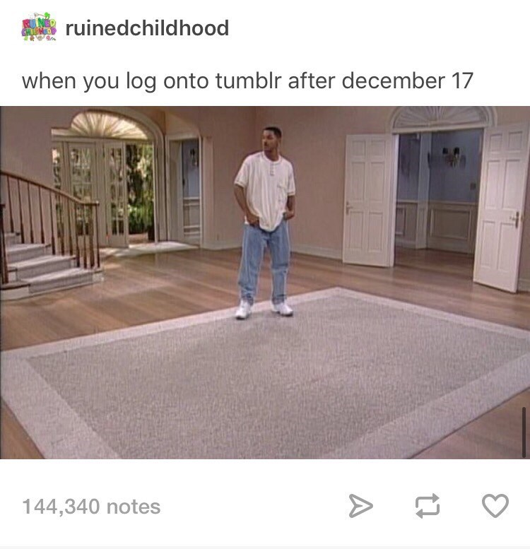 meme about Tumblr becoming deserted after the porn ban with picture of Will Smith standing in empty room