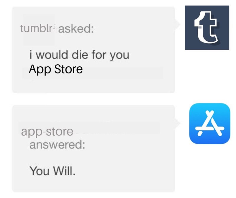 meme about the Tumblr app getting removed from the app store