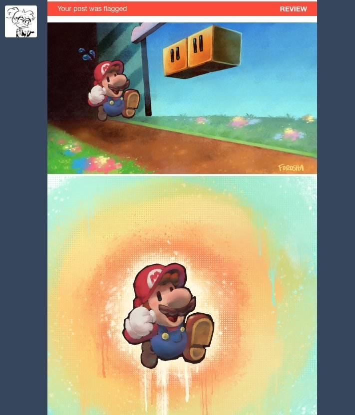 normal pictures of Mario flagged as explicit on Tumblr