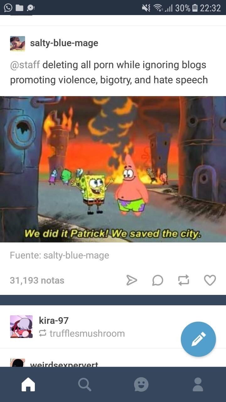 meme about Tumblr destroying itself with picture of Spongebob and Patrick thinking they saved a burning city