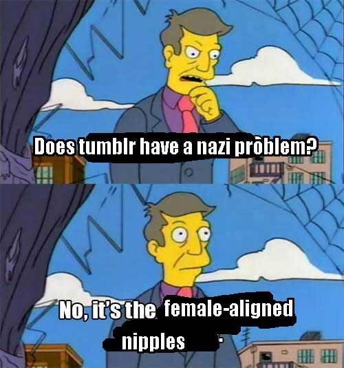 meme about Tumblr banning female nudity rather than Nazi imagery with picture of Skinner from Simpsons arriving to the wrong realization