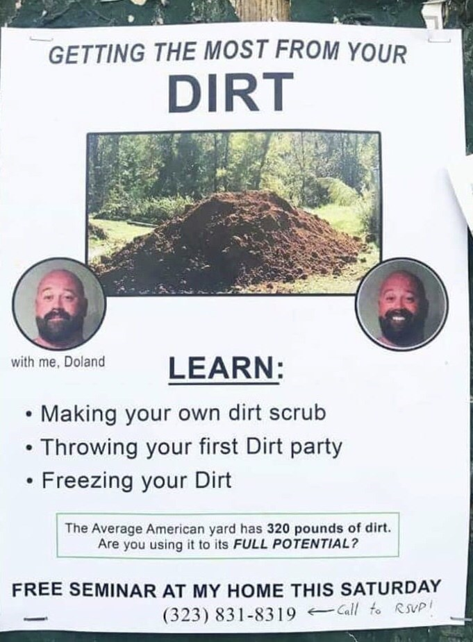 flyer for learning how to handle dirt