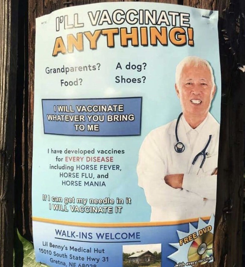Flyer for 'I'll vaccinate anything!'