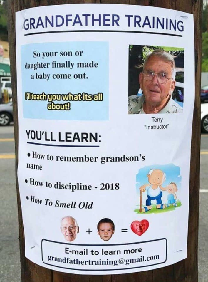 flyer for lessons on how to be a grandfather