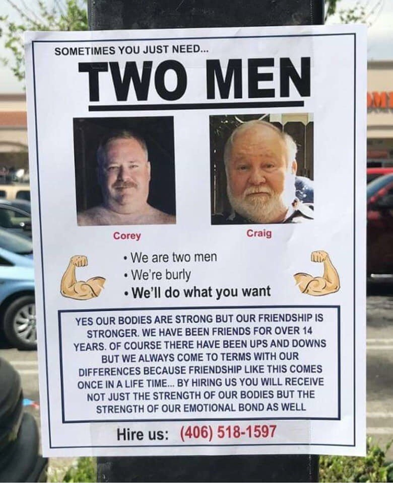 flyer for two strong men who are also friends