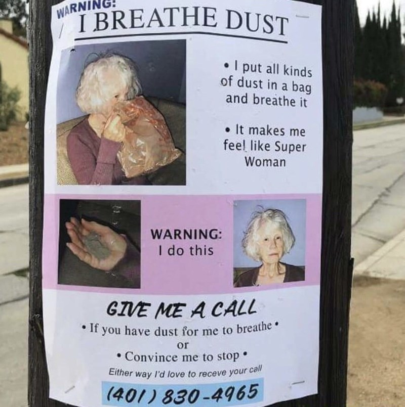 flyer advertising woman who specializes in breathing dust