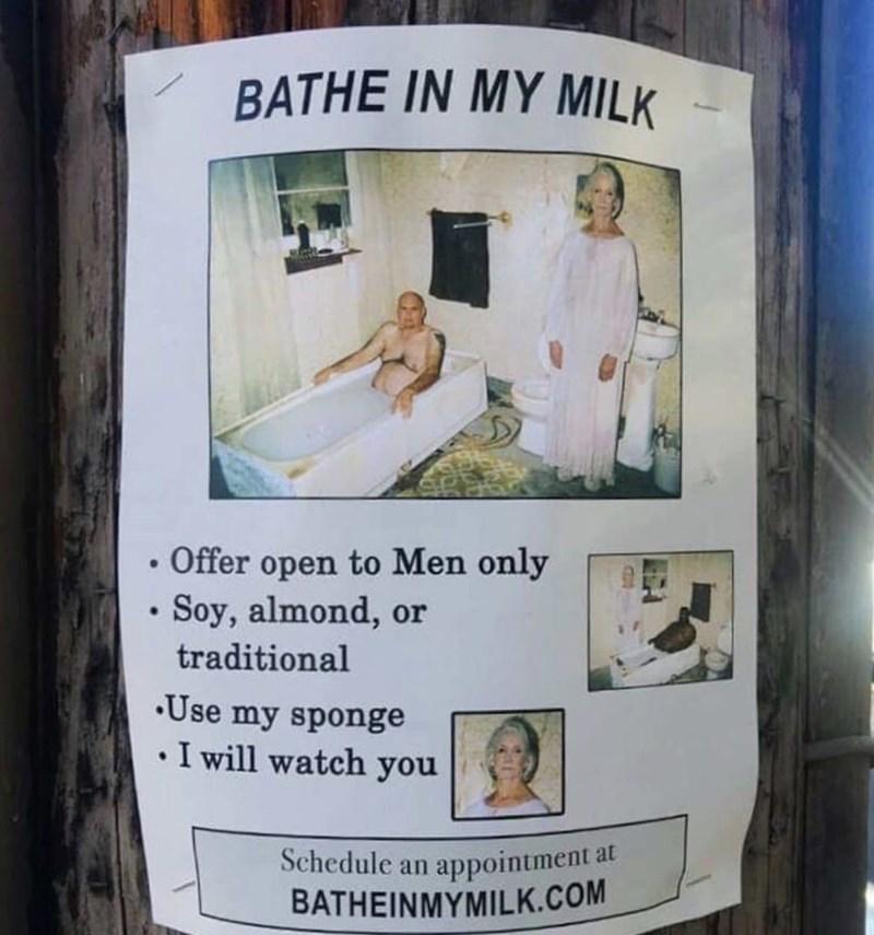 flyer of woman advertising her milk baths