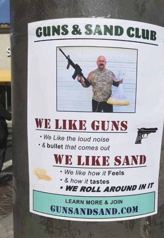 flyer for club dedicated to guns and sand lovers