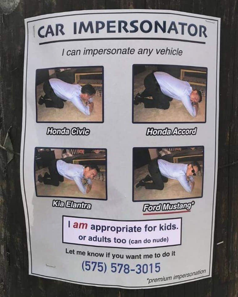 Flyer for a 'Car Impersonator'