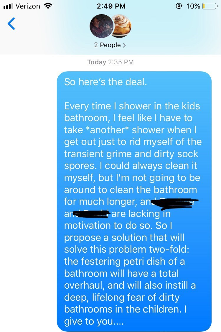 Text message about a girl's younger siblings who never clean their shower
