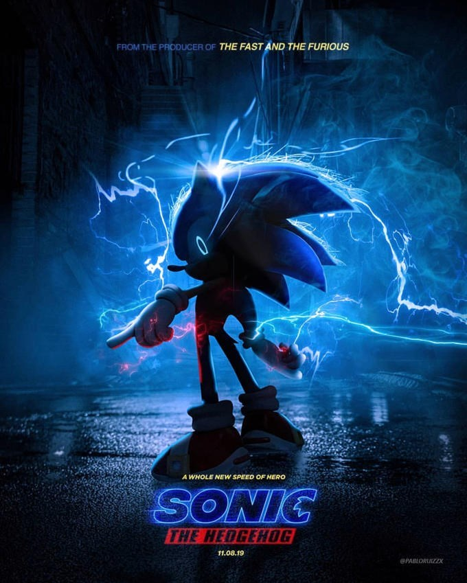 parody of the Sonic live action movie poster with cartoon Sonic