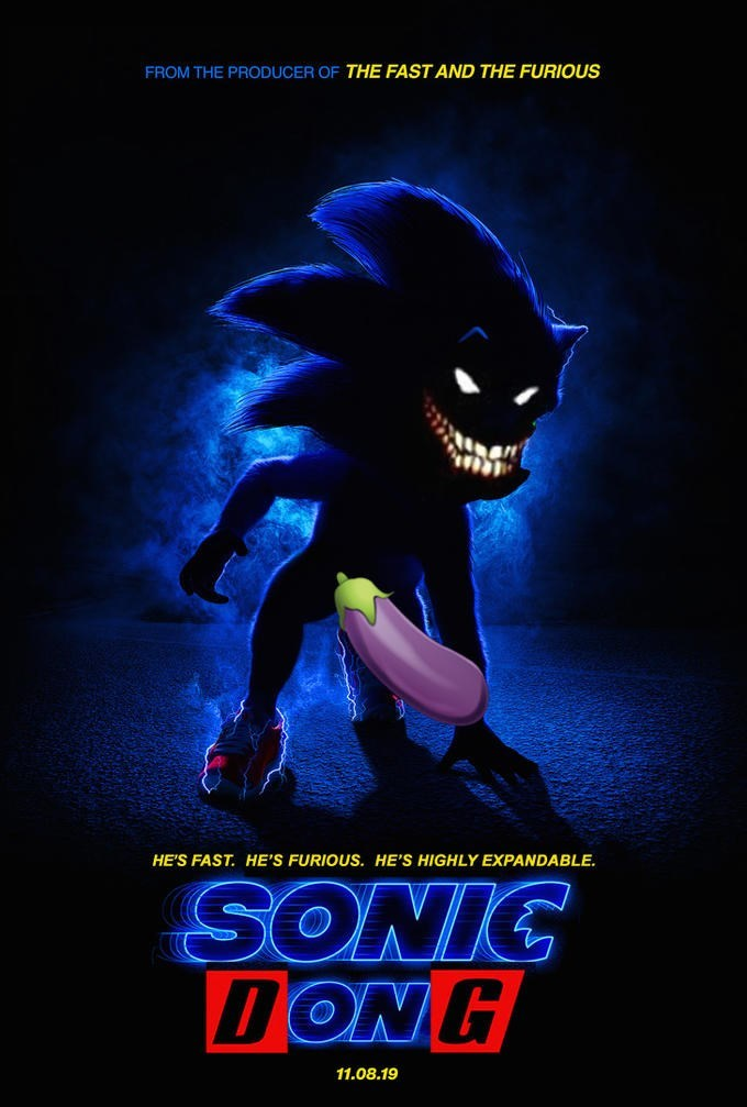 parody of the Sonic live action movie poster as Sonic Dong