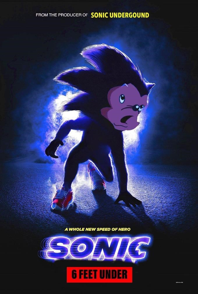 parody of the Sonic live action movie poster
