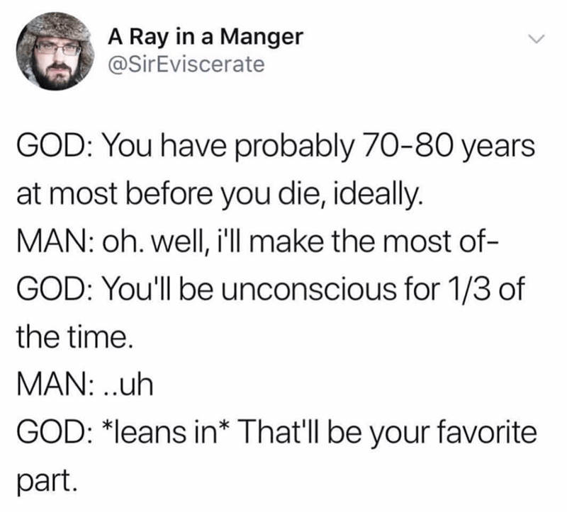 Text - A Ray in a Manger @SirEviscerate GOD: You have probably 70-80 years at most before you die, ideally. MAN: oh. well, i'll make the most of- GOD: You'll be unconscious for 1/3 of the time MAN: ..uh GOD: *leans in* That'll be your favorite part.