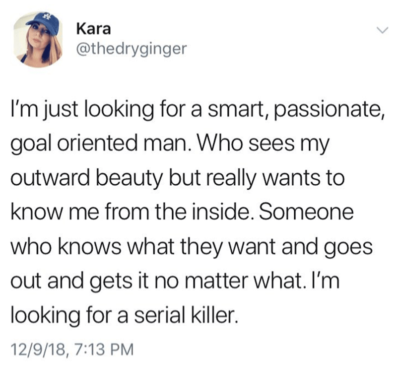 Text - Kara @thedryginger I'm just looking for a smart, passionate, goal oriented man. Who sees my outward beauty but really wants to know me from the inside. Someone who knows what they want and goes out and gets it no matter what. I'm looking for a serial killer. 12/9/18, 7:13 PM