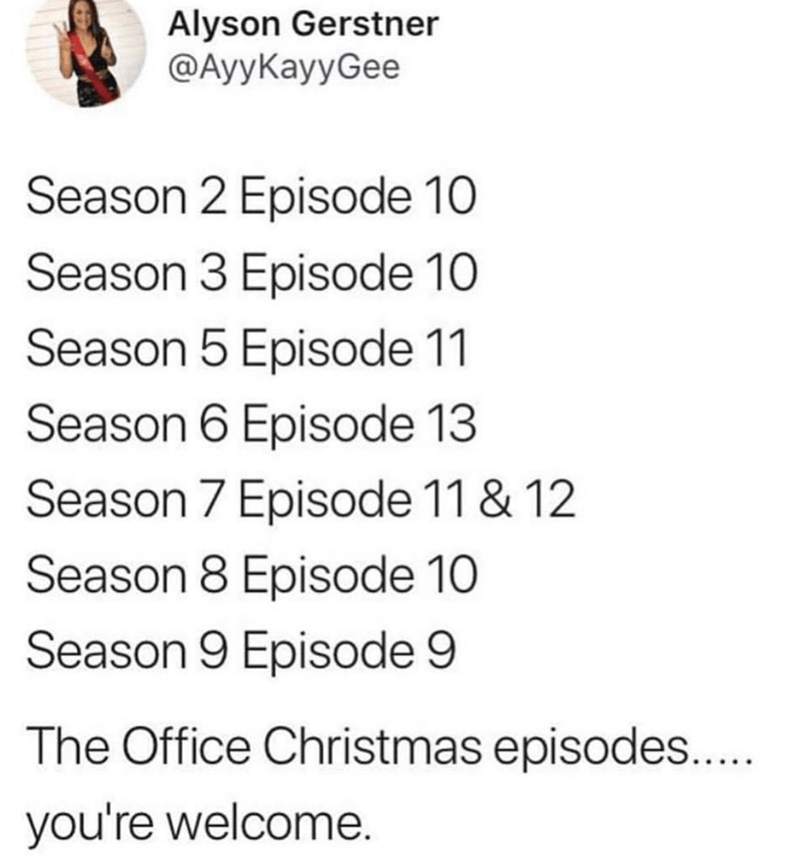 Text - Alyson Gerstner ФАyуКayyGee Season 2 Episode 10 Season 3 Episode 10 Season 5 Episode 11 Season 6 Episode 13 Season 7 Episode 11 & 12 Season 8 Episode 10 Season 9 Episode 9 The Office Christmas episodes... you're welcome