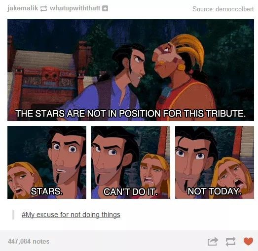 "Tumblr thread with scene from ""Road to El Dorado"" about procrastinating"