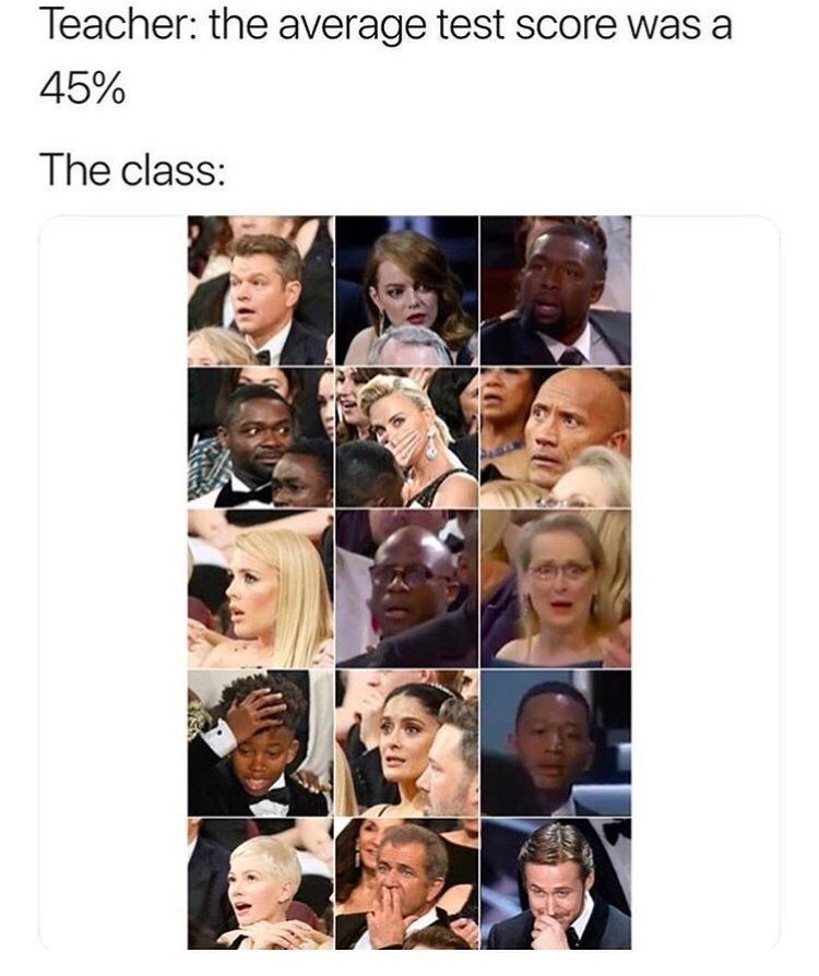 Face - Teacher: the average test score was a 45% The class: