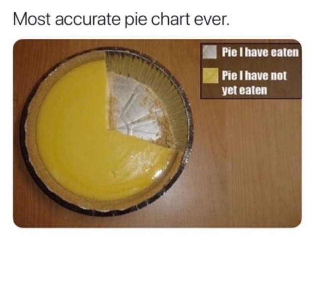 stupid but correct - Yellow - Most accurate pie chart ever. Pie I have eaten Pie I have not yet eaten