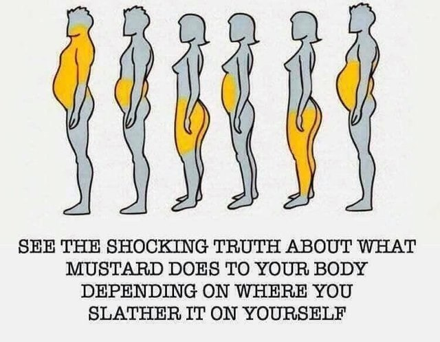 stupid but correct - Text - SEE THE SHOCKING TRUTH ABOUT WHAT MUSTARD DOES TO YOUR BODY DEPENDING ON WHERE YOU SLATHER IT ON YOURSELF