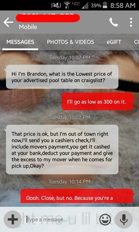 Craigslist scammer contacting seller of pool table