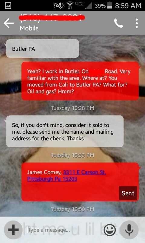 Craigslist scammer tries to close deal and asks for seller's address