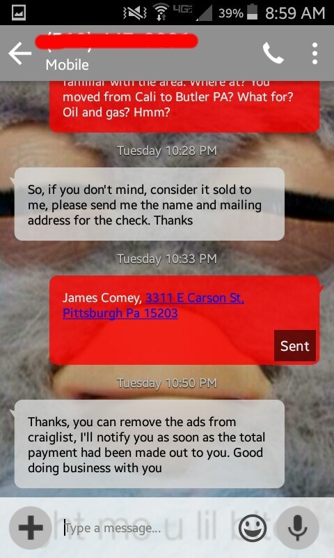 Craigslist scammer tries to close deal