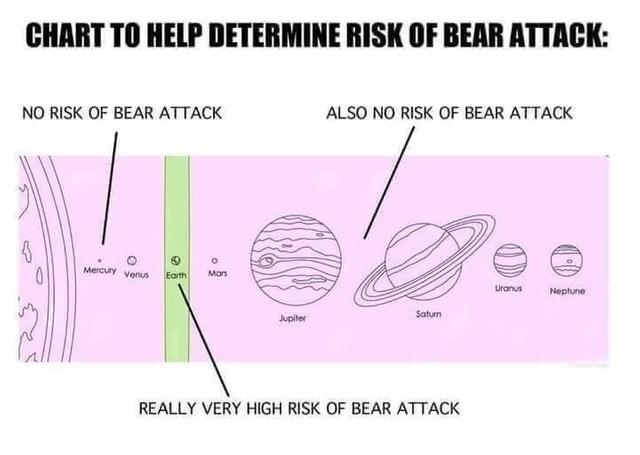 stupid but correct - Text - CHART TO HELP DETERMINE RISK OF BEAR ATTACK: NO RISK OF BEAR ATTACK ALSO NO RISK OF BEAR ATTACK Mercury yenus- Earth Mars Uranus Neptune Saturn Jupiter REALLY VERY HIGH RISK OF BEAR ATTACK