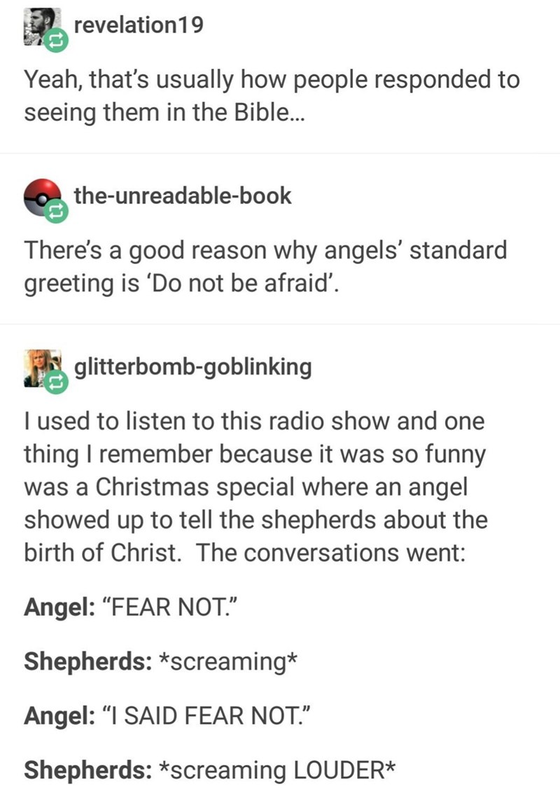 Tumblr thread about how angels are depicted in the bible