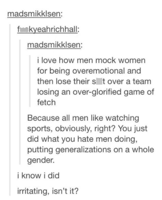 Tumblr thread with a man reacting emotionally to a generalization