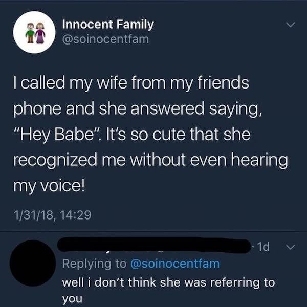 tweet by gullible person who's getting cheated on by wife