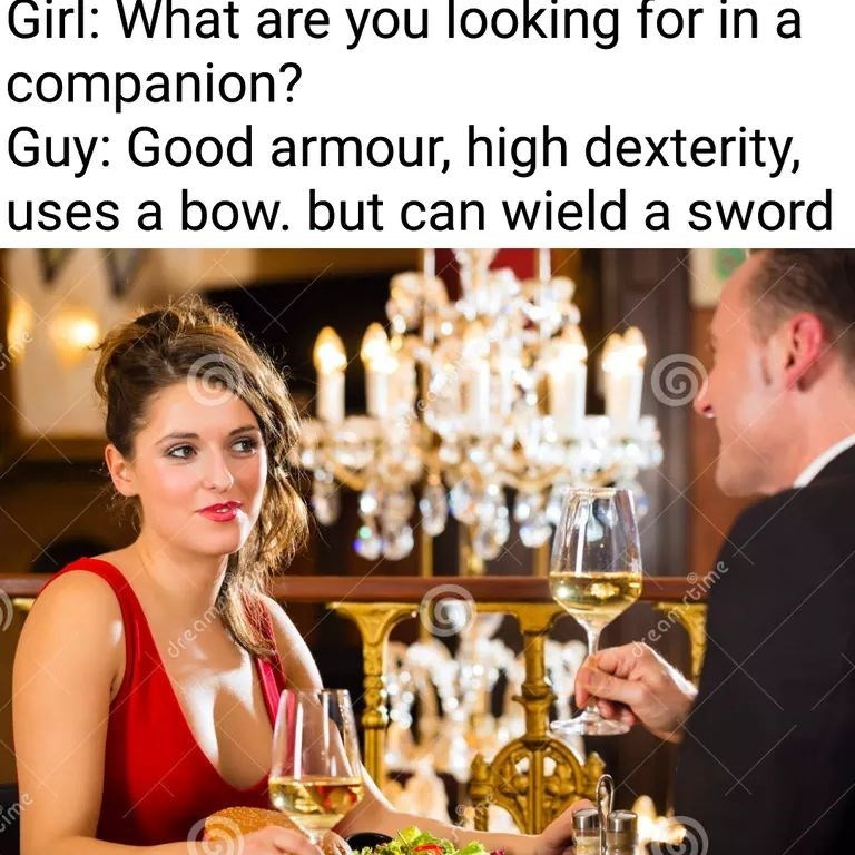 meme about looking for a gaming companion with pic of couple on date
