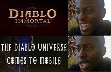 meme about Diablo Immortal disappointing the PC gamers
