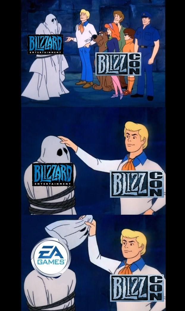 meme with the Scooby gang revealing Blizzard to be EA games