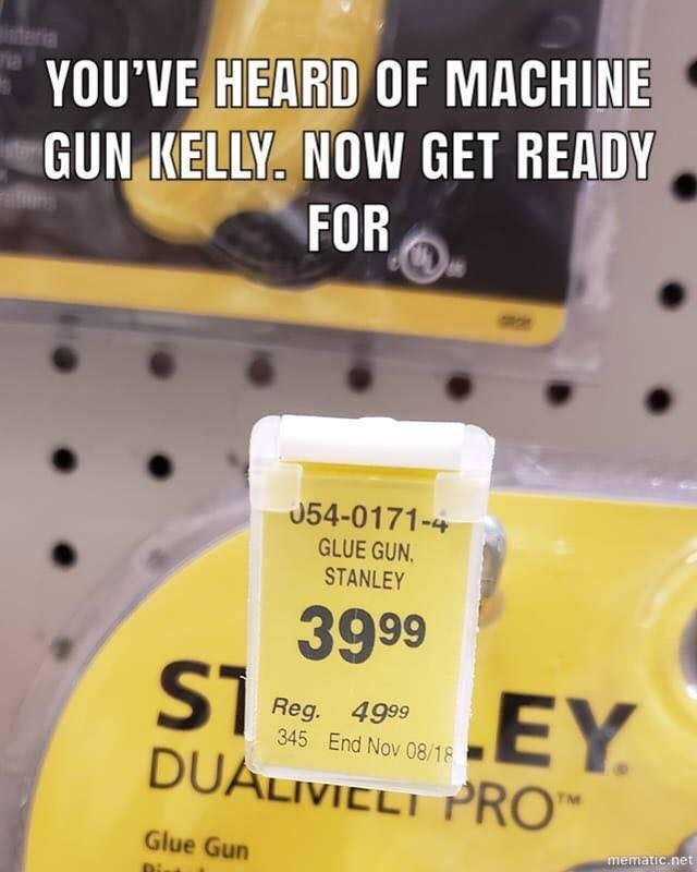 """price tag for product called """"glue gun Stanley"""""""