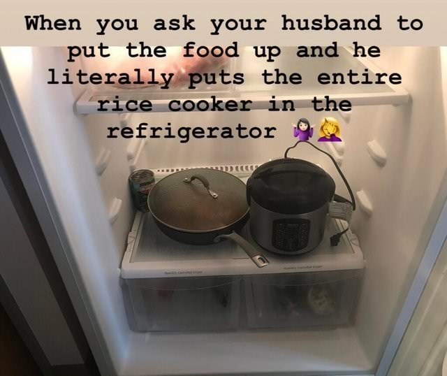 meme about men being clueless in the kitchen with pic of rice cooker inside fridge