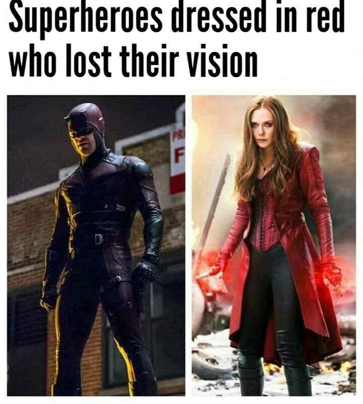 meme about the things Daredevil and Scarlet Witch have in common