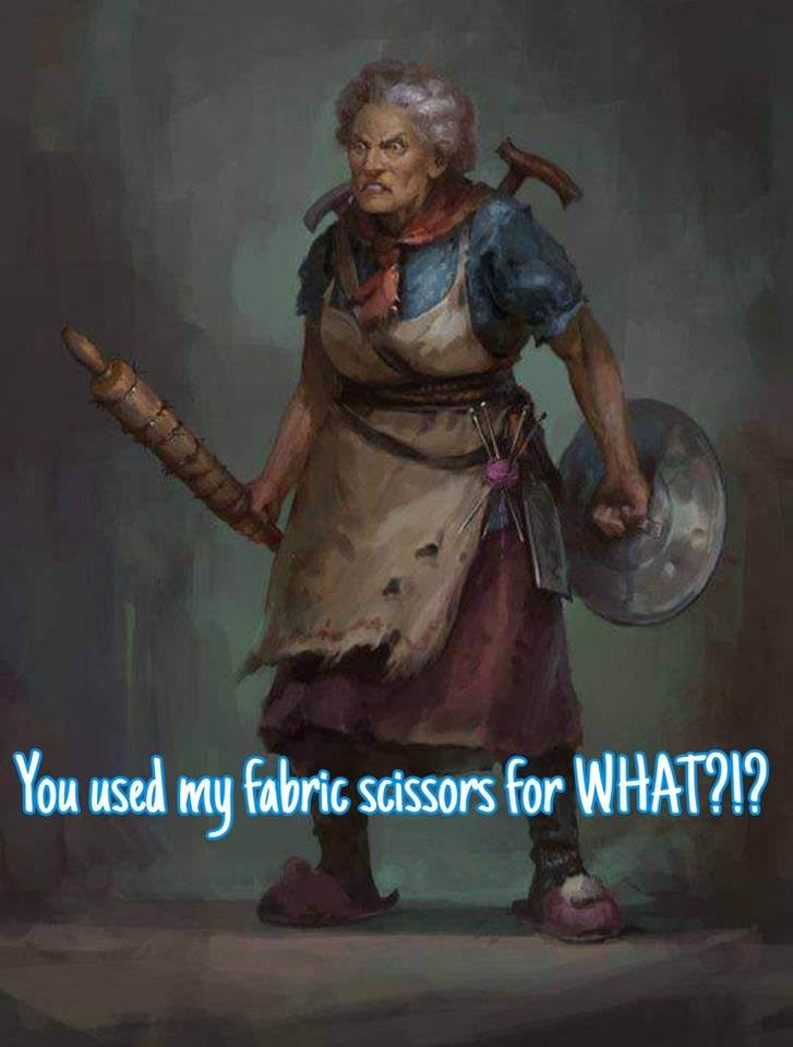 meme about threatening to kill someone for using fabric scissors on paper