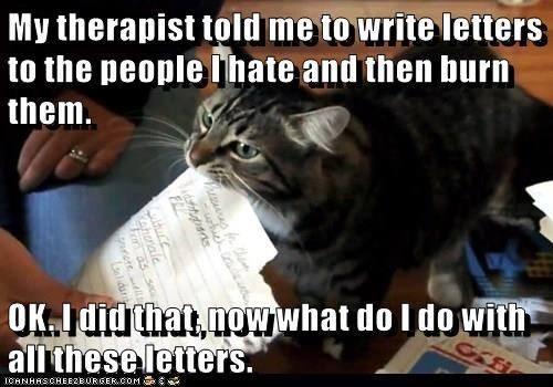 cat meme - Cat - My therapist told me to write letters to the people hate and then burn them OK I did that nowwhat do I dowith all these letters. ICANHRSCHEE2B0RSERCOM honale arore