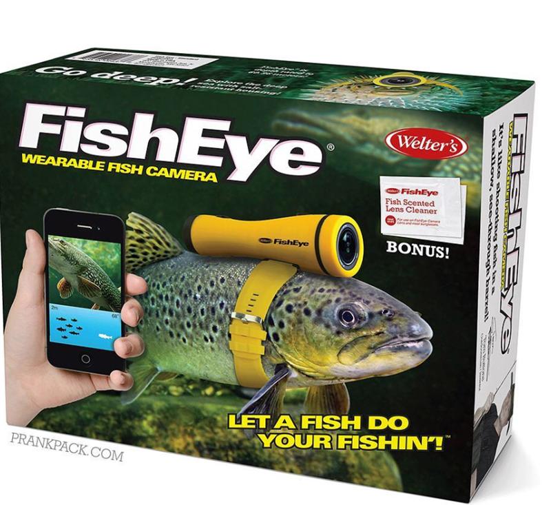 Fish - CGo O eep. n FishEye Welter's WEARABLE FISH CAMERA FishEye Fish Scented Lens Cleaner SeFor eon neCa Lns and m ng BONUS! FishEye 2m LET A FISH DO YOUR FISHINT PRANKPACK.COM ec 1111