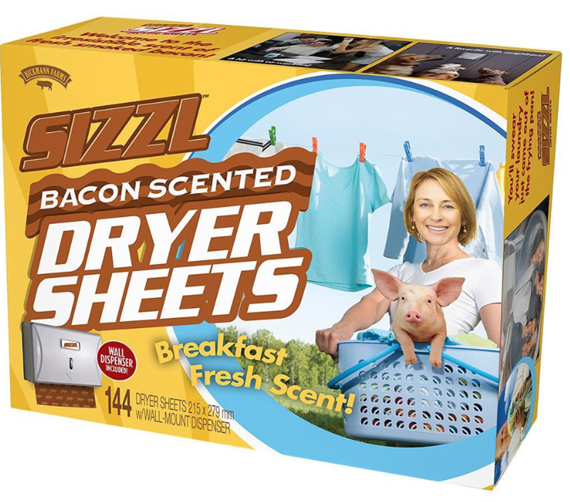 Toy - NOIZANY FARMS SIZZL DRYER SHEETS BACON SCENTED Breakfast Fresh Scent! WALL DISPENSER INCUDED 144 DRYER SHEETS 215X279mm WWALL-MOUNT DISPENSER