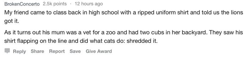 askreddit - Text - 12 hours ago BrokenConcerto 2.5k points My friend came to class back in high school with a ripped uniform shirt and told us the lions got it. As it turns out his mum was a vet for a zoo and had two cubs in her backyard. They saw his shirt flapping on the line and did what cats do: shredded it. Reply Share Report Save Give Award
