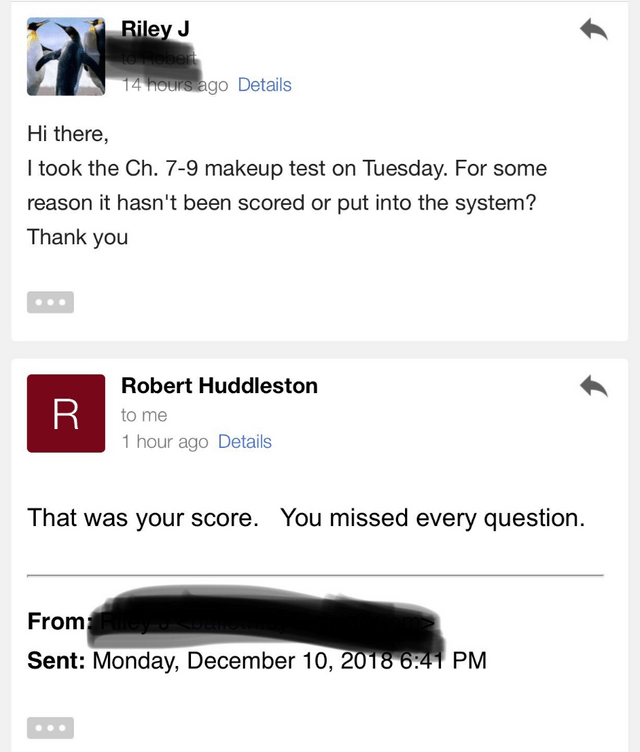 unfortunate moment when a student realized they failed their test