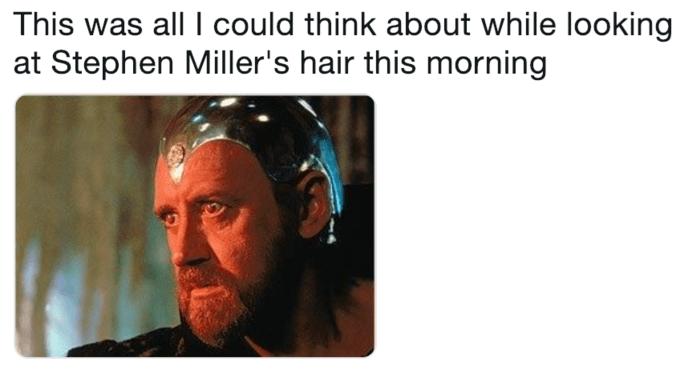 meme about Stephen Miller's spray on hair