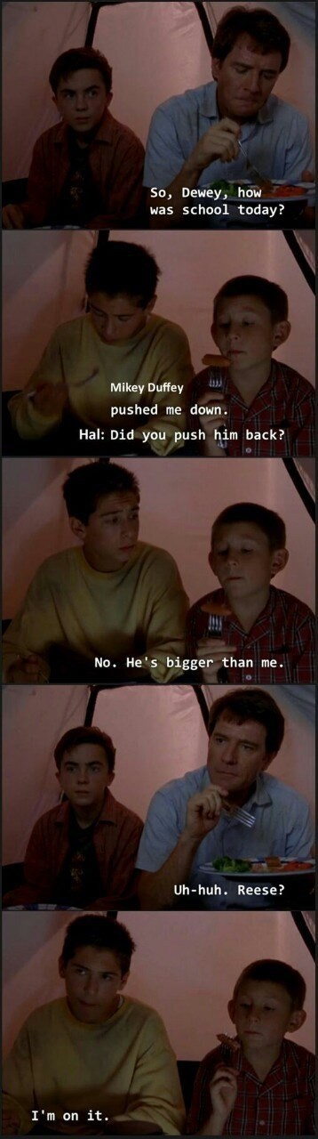 Malcolm In the Middle scene of Reese protecting Dewey from bully