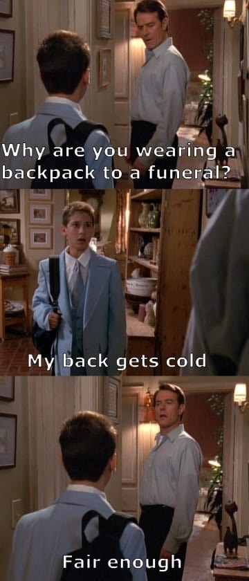 Malcolm In the Middle scene of Reese wearing a backpack to a funeral